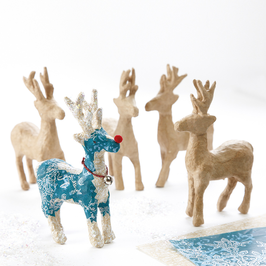Buy papier mache christmas reindeer decorations 5pk tts for Papier mache decorations
