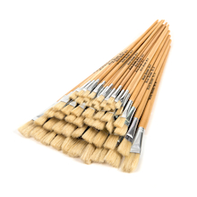 Long Handled Flat Hog Hair Paint Brushes 60pk  medium