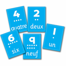 Numbers French Vocabulary Flashcards A4 10pk  medium