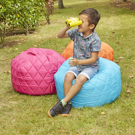 Outdoor Quilted Beanbags 4pk Bright Colours  large