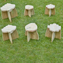 6 Storytellers' Wooden Stools  medium