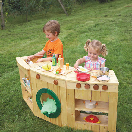 Curved Outdoor Wooden Role Play Kitchen Multibuy  large