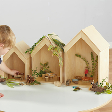 Nesting Wooden Small World Houses 3pk  medium