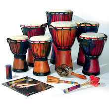 Multicultural Djembe Drums and Shakers 12 Players  medium