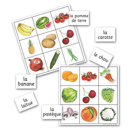 Fruit and Vegetables French Vocabulary Bingo Game  large