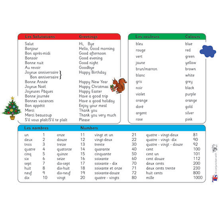 French Vocabulary Word Mats 30pk  large