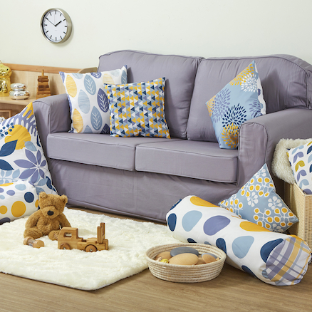 Mixed Pattern Mustard and Grey Cushion Set  large