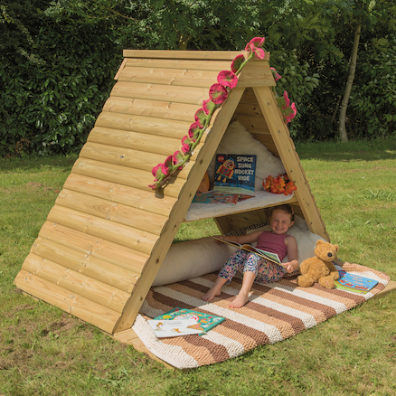 Outdoor Wooden Hideaway Play House and Platform  large