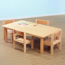 Beech Veneer Rectangular Table and Chairs  medium