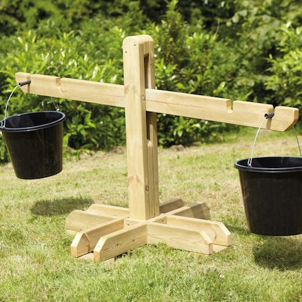 Giant Wooden Outdoor Scales and Buckets  large