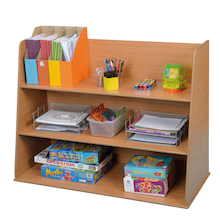 Deep Freestanding Bookcase Unit Beech  medium