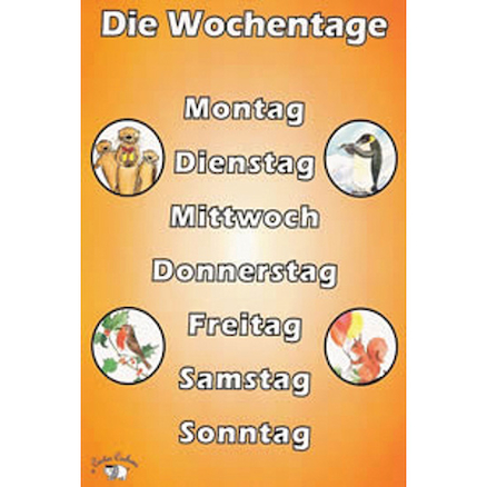 German Vocabulary Beginners A4 Posters 6pk  large