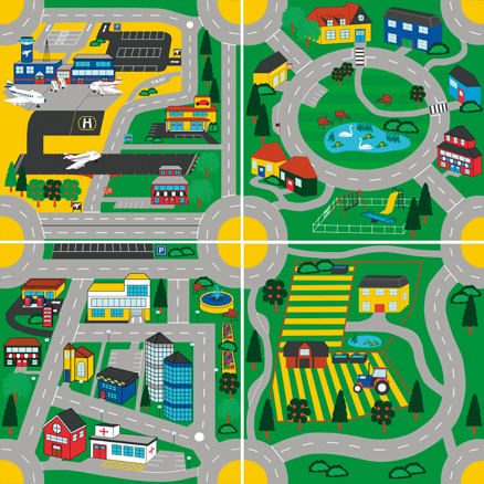 Town and Country Road Design Mats 4pk  large