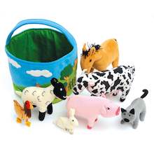 Basket of Soft Farm Animals  medium