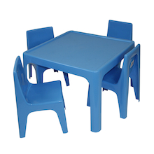 Polypropylene Table and Chairs Set Blue  medium
