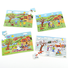 Wooden Four Seasons Jigsaw Puzzles 4pk  medium