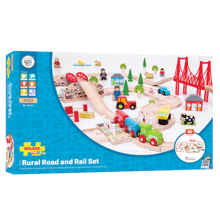 Small World Wooden Road and Rail Set 80pcs  large