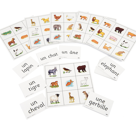 Animals French Vocabulary Bingo Game  large