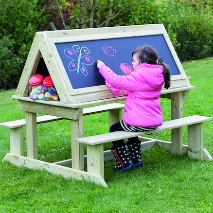 Easy Access Outdoor Wooden Sit Down Easel  large