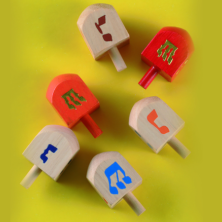Jewish Childrens Game Wooden Dreidels  large