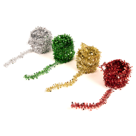 Metallic Star Garland Tinsel 10m 4pk  large
