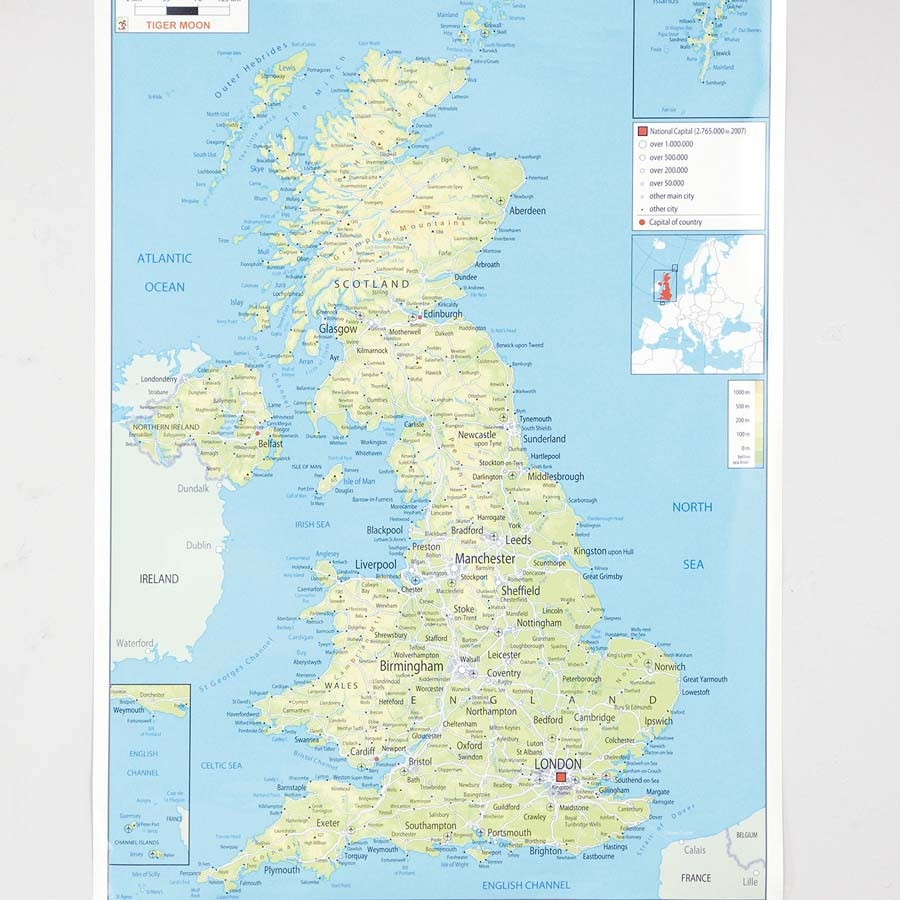 Buy UK Physical Map A1 TTS