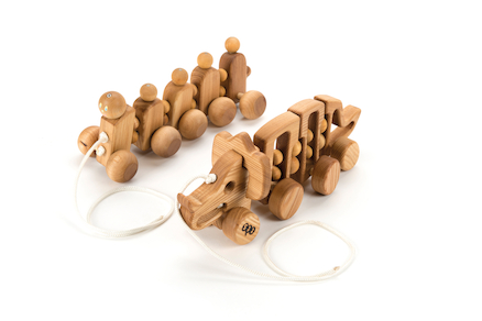 Wooden Pull Along Animals 2pk  large