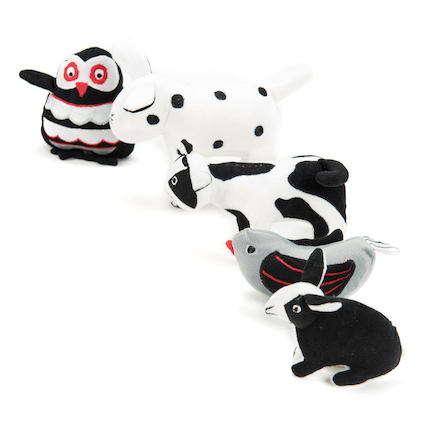 Black and White Soft Baby Toys in Basket  large