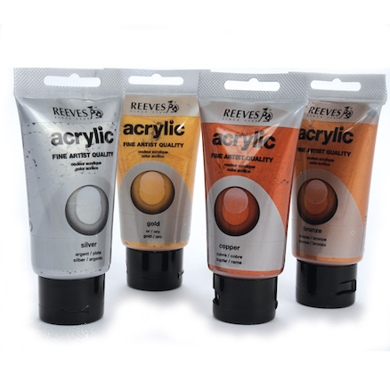 Reeves Acrylic Metallic Paint Tubes 4pk  large