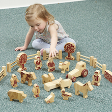 Natural Wooden Small World Farm Accessories  medium