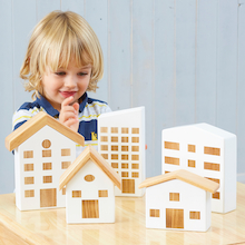Tiny Town Wooden Houses 5pcs  medium