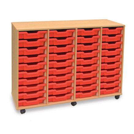 Mobile Tray Storage Unit With 40 Shallow Trays  large