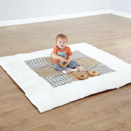 Neutral Textured Baby Mat and Cushions  large