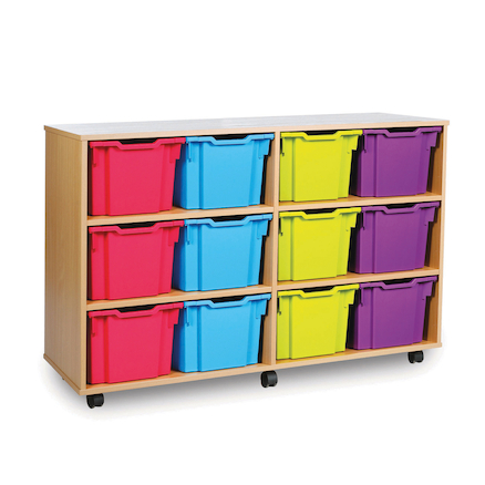 Mobile Tray Storage Unit With 12 Extra Deep Trays  large