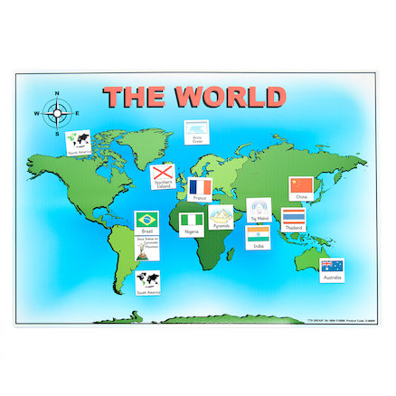 Magnetic World Map and 50 Illustrated Pieces A3  large