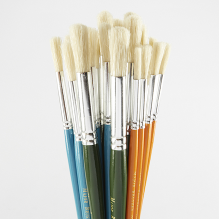 Assorted Round Short Hog Hair Paint Brushes 30pk  large