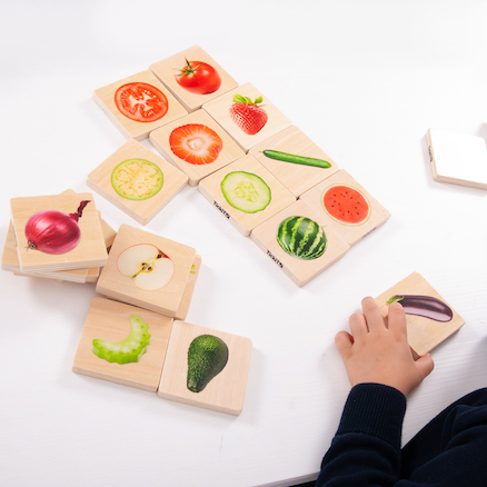Wooden Fruit and Vegetable Matching Game  large