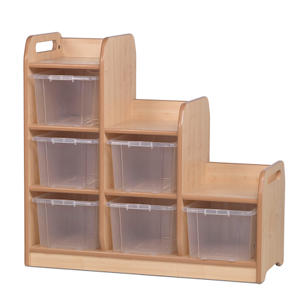 Stepped Storage Unit with Clear Tubs (Left)  large