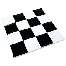 Black and White Checked Vinyl Mat  medium