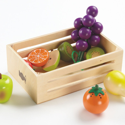 Role Play Wooden Fruit and Veg in Crates  large