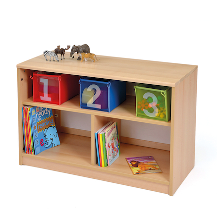 Room Scene Bookcase with Mirrored Back Panel  large