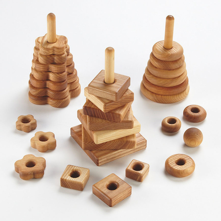 Wooden Stacking Pyramids 3pk  large