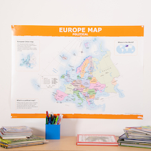 Simple Europe Map A1 Political and Relief KS2  medium