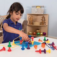 Fine Motor Stacking and Lacing Peg and Board  medium