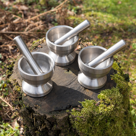 Metal Pestle and Mortar Set 3pcs  large