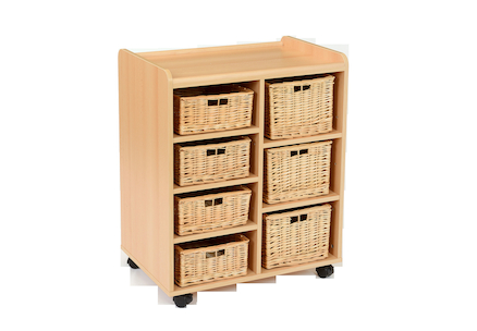 Storage Unit with 4 Shallow 3 Deep Wicker Baskets  large