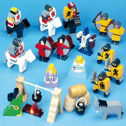 Small World Wooden Medieval Figures 24pcs  large
