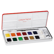 Caran D'ache Metal Box of 12 Gouache Pan Set  medium
