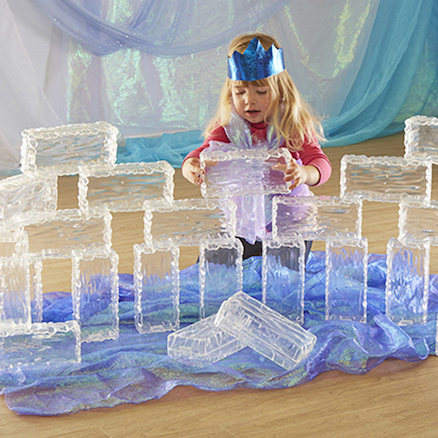 Glacier Effect Clear Plastic Ice Bricks  large