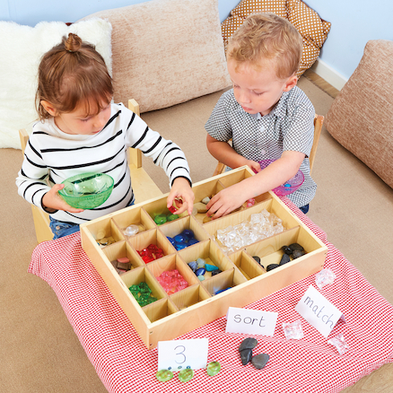Rustic Wooden Sorting Tray  large